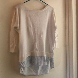 Ann Taylor mixed material white sweater